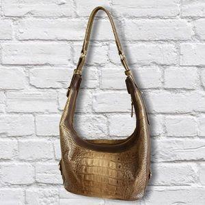 Brahmin Jacana Croc Embossed Leather Hobo Bag